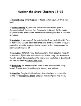Number the Stars Leveled Reading Comprehension Discussion Questions