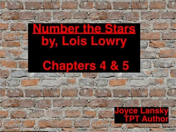 Number the Stars Literary Unit for Chapters 4 & 5 on Prome