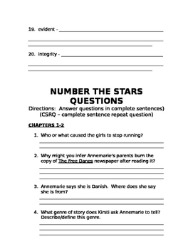 Number the Stars Packet