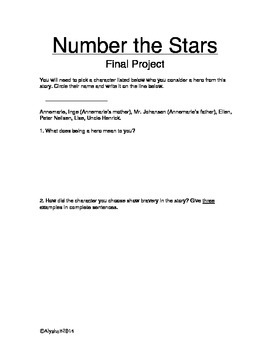 Number the Stars Packet & Final Project