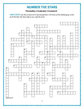 Number the Stars: Prereading Crossword—50 words! Use with Bookmarks Plus!