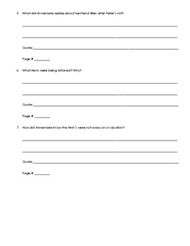 Number the Stars Questions for Chapters 1-3