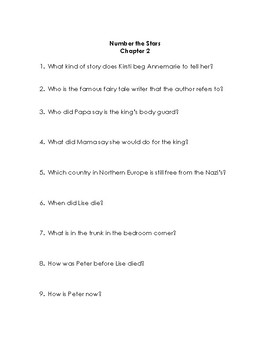 Number the Stars Quiz/Discussion Set