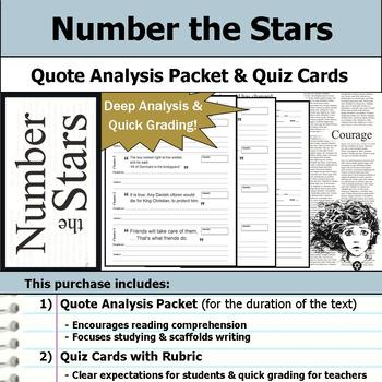 Number the Stars - Quote Analysis & Reading Quizzes