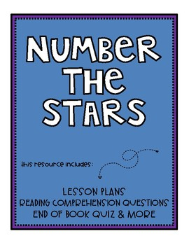 Number the Stars Reading Comprehension Packet & Quiz