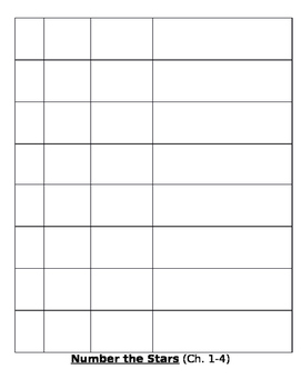 Number the Stars- Reading Log/ Vocabulary (KIMs Chart) Ch. 1-15
