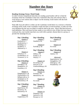 Number the Stars Vocabulary Word Study