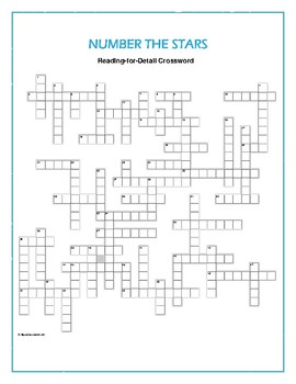 Number the Stars: Reading-for-Detail Crossword—One-of-a-kind puzzle!
