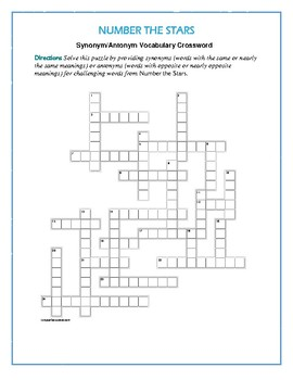 Number the Stars: Synonym/Antonym Vocab Crossword--Use with Bookmarks Plus!