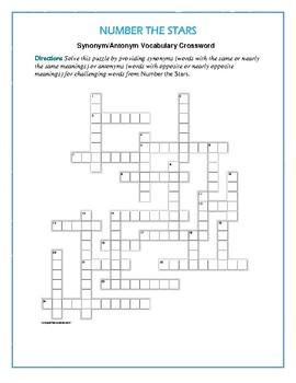 Number the stars synonymantonym vocab crossworduse with bookmarks number the stars synonymantonym vocab crossworduse with bookmarks plus ccuart Choice Image