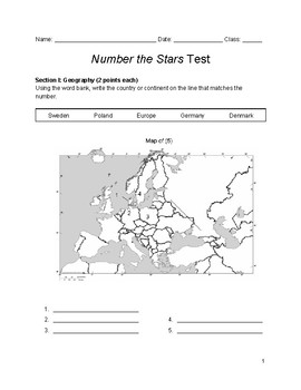 Number the Stars Test and Study Guide