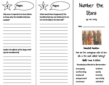Number the Stars Trifold - Journeys 6th Grade Unit 5 Week 3 (2014, 2017)