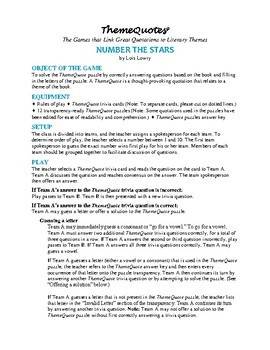 Number the Stars Trivia Game—120 questions! Fun for the Whole Class!