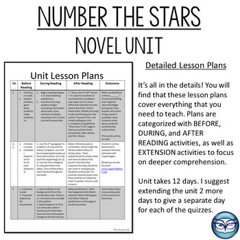 Number the Stars Complete Novel Unit Plan - 4th, 5th and 6th grades
