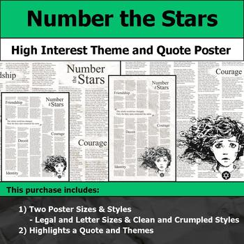 Number the Stars - Visual Theme and Quote Poster for Bulletin Boards