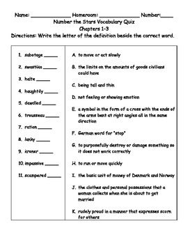 Number the Stars Vocabulary Tests