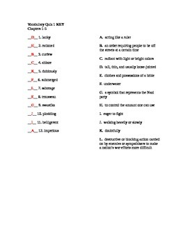 Number the Stars Vocabulary and Quizzes
