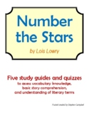 Number the Stars - Vocabulary and comprehension quiz packet