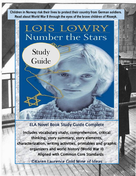 Number the Stars by Lois Lowry ELA Novel Study Guide Complete!
