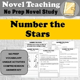 Number the Stars Novel Study - No Prep - Printable Activit