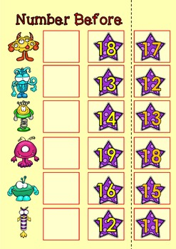 Number to 20 Math Centers x 3, Before and After Numbers to Twenty
