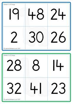 Number to 50 Bingo Game
