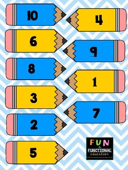 Number to Number-Word Match to 10 File Folder Game