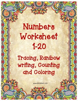 Number tracing 1-20 including counting & rainbow write. #TeachersLoveTeachers