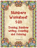 Number tracing 1-20 including counting & rainbow write. #T