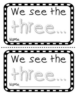 Number word THREE sight word reader