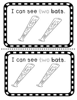 Number word TWO sight word reader