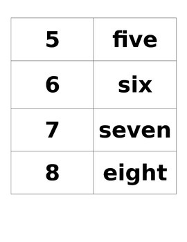 Number word cards 0-10