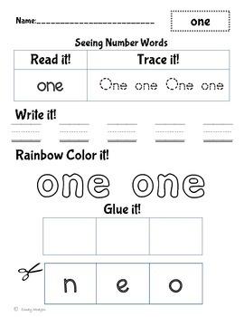 Number word practice 0-10