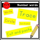 Number words 0-10 (Ten Frame, Write, Circle, Trace, Cut an