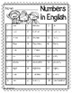 Number words chart in SPANISH AND ENGLISH