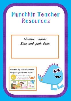 Number words - pink or blue font