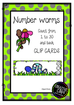 Number worms - Count to 30 and back - Clip cards
