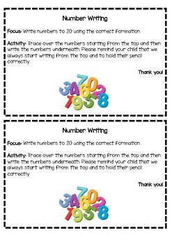 Number writing 1 - 10 activity
