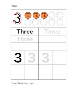Number writing practice worksheet