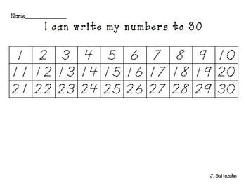 Number writing to 100