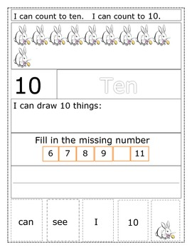 Number/Word Recognition Sentence Builders Numbers 1-10 -- BUNDLE of 10