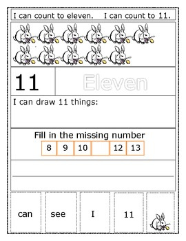 Number/Word Recognition Sentence Builders Numbers 11-20 --