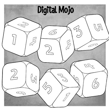 Numbered 3D Dice – Probability Clipart