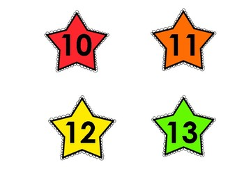 Numbered Colored Stars 1-35