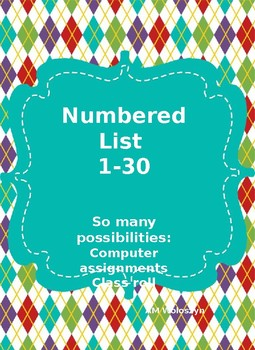 Numbered List 1-30