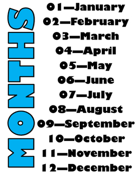Numbered Months Poster