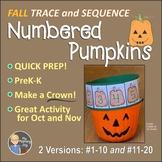 Numbered Pumpkins Fall Crown Math Number Center Activity