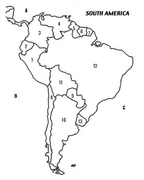 Numbered South America Political Map