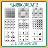 Numbered Square Grids - From 2x2 to 10x10 Grids for Math Etc Clip Art Set