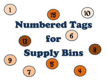 Numbered Tags for Supply Bins